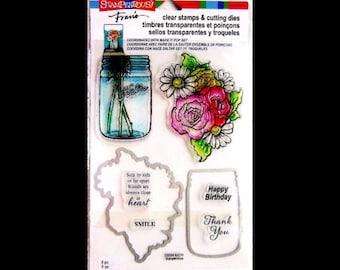 Stampendous Stamp and Die Cut set - acrylic MASON JARS FLOWERS bouquet mason jar die CSD04 1.cc02 SD045