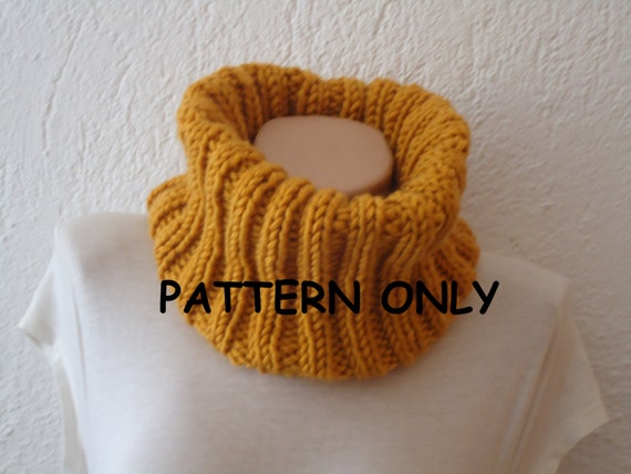 Simple Snood Knitting Pattern : PDF pattern easy knit ribbed snood / cowl PDF by AYTULGIFT