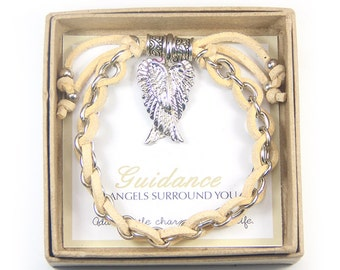 Guidance: Silver Guardian Angel Wings Charm and Chain with Creme Suede Cord  Bracelet in Gift Box, Inspirational Gift, Christmas Gift