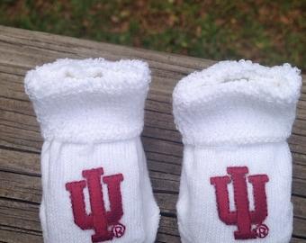 Indiana Hoosiers baby booties 0-3 months