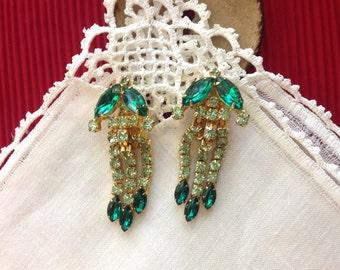 Kramer Emerald and Peridot Rhinestone Waterfall Clip Earrings, 1 X 2 in,  25.4 X 50.8 mm