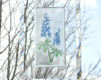 Lupine suncatcher, Engraved Luping Suncatcher,  Lupine Flower  Window Hanging, Fused Glass Lupine, Engraved Lupine,  BV201