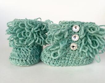 Loopy aqua wool baby boots