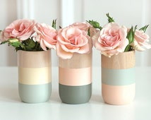 Wooden Vases - Set of 3 - for flowers and more - Home Decor - Summer Sale 30%
