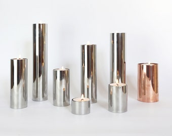 Set of 7 steel candle holders