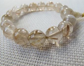 12mm Natural Golden Rutilated Quartz Round Beads Elastic Bracelet B20
