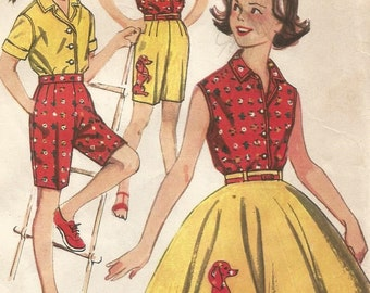 3456 Simplicity Sewing Pattern Girls Blouse Skirt Bermuda Shorts UNCUT Size 10 Vintage 1950s