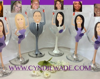 Bridesmaid Wine Glass  caricature cartoon painted