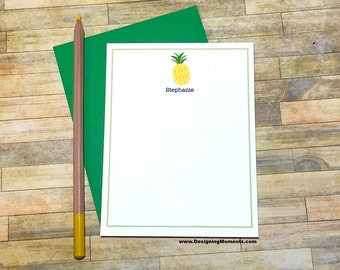 Personalized Pineapple Note Cards - Custom Thank You Cards - Pineapple Stationery - Stationary - Kids Stationery - Cards DM229