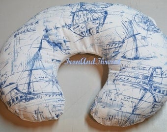 Nautical ,Blue Boat Sketching,White Cotton Twill,Boppy Cover. Nursing Pillow Cover.