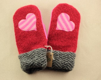Valentines Large Red and Pink Heart Mittens Recycled Sweater Mittens  Heart Mittens Red Pink Sweater Mittens Recycled Mittens OldWoolNew