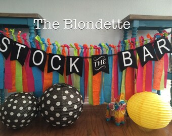 Stock the Bar Canvas Banner. Black White lettering. Stock the bar decorations.