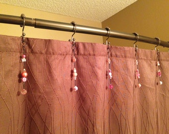 Pink Shower Curtain Hook Decoration with black chain for the bathroom. Over 5 inches long.