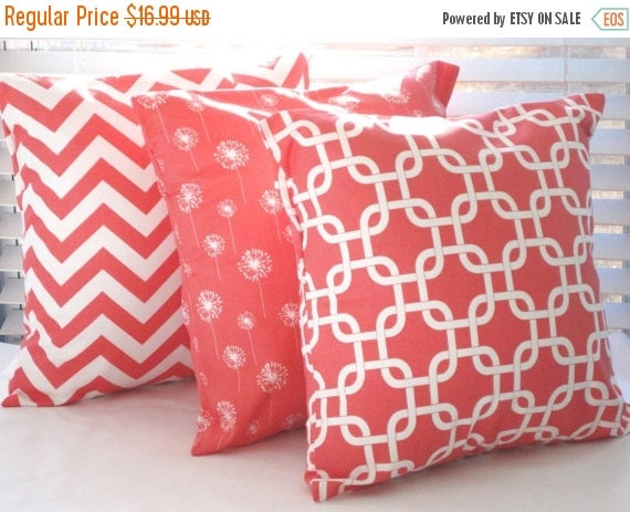 Decorative Pillows Outlet : CLEARANCE SALE Pillow Cover Pillow Coral Pillows by PillowsByJanet