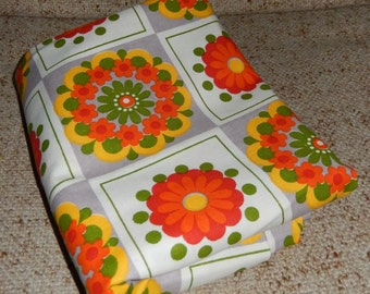 2 Yards of Lovely Vintage Fabric with Red, Orange, Yellow and Green Daisy Pattern