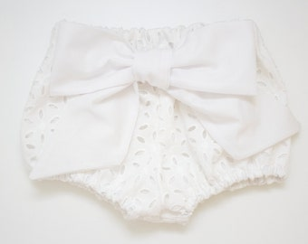 White Eyelet Bow Bloomers for Babies and Toddlers