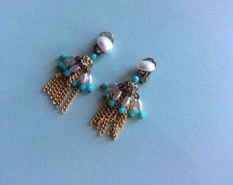 Pearl and Turquoise Clip on Earrings