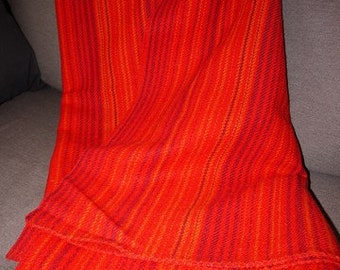 Swedish Design - Wool Blanket / Plaid - 60s - Viola Gråsten - Tidstrand - Snark - Red -