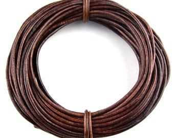 Brown Distressed Round Leather Cord 1mm 10 meters (11 yards)