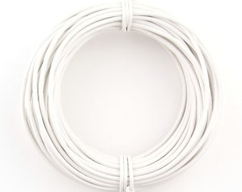 White Round Leather Cord 2mm, 25 meters (27 yards)