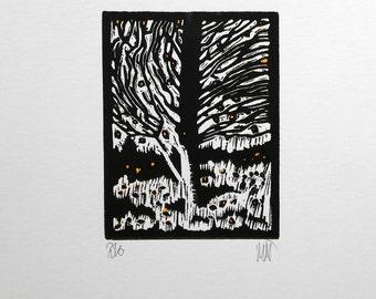 Autumn Leaves llI Lino Print Lino Cut