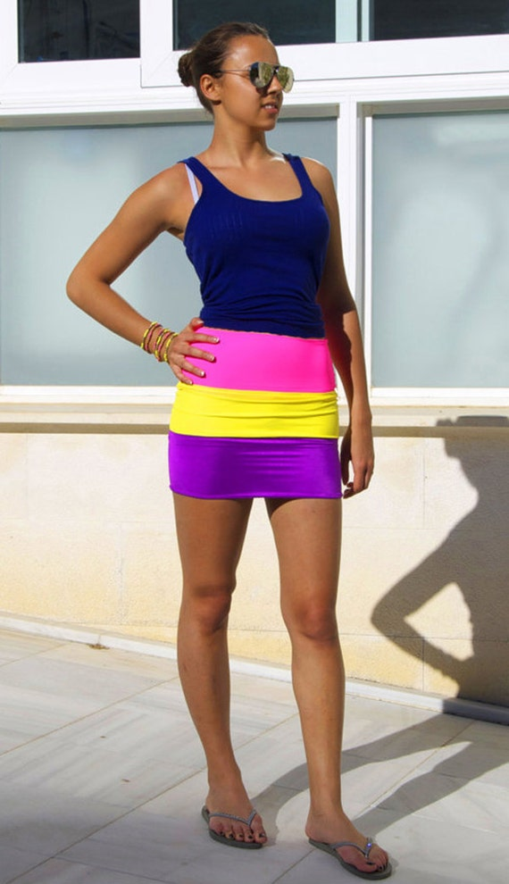 60% CLEARANCE Sale! Tutti Frutti - 3 Tone Neon Bodycon Skirt by Sex Kitten Couture