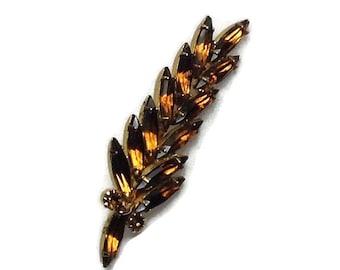 Very Pretty Amber Color Topaz Rhinestones Leaf Brooch, Frond