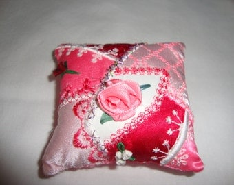 Handmade crazy quilt pincushion with ribbon embroidery