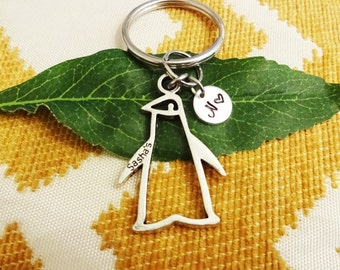 "PENGUIN KEYCHAIN with initial charm - Read ""item details"" & see all photos - one flat rate shipping in my shop :)"