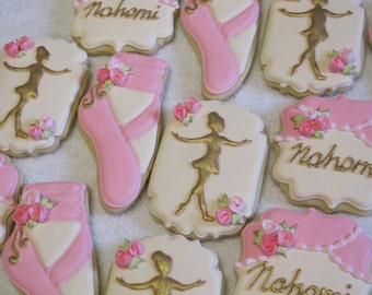 Ballet Ballerina Slippers Decorated Sugar Cookies, Ballerina Theme Birthday Party Favors for Girl, Ballet Cookie Favors, Custom Cookies