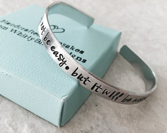 Sale custom bracelet personalized it will not be easy but it will be worth it hand stamped cuff bracelet