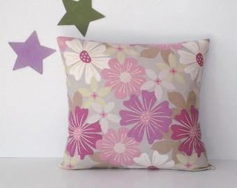 "Lavender Green Floral Pillow Cover, 18"" x 18"" Decorative Sofa Cushion Cover, Bedroom Pillow Sham, White Throw Pillow, Feminine Purple Pillow"