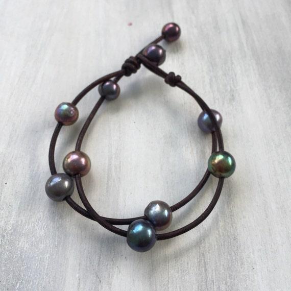 leather pearl bracelet pearl bracelet valentines by. Black Bedroom Furniture Sets. Home Design Ideas