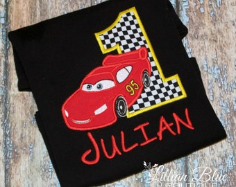Red Race Car Birthday Shirt with name