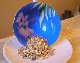 Up-Cycled, Re-Purposed, Table  Bird Feeder made with Vintage Cup and Saucer.