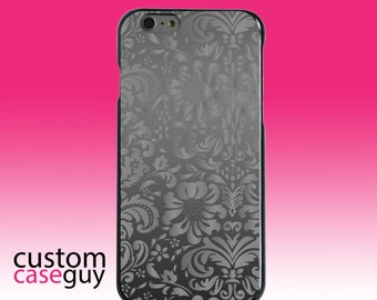Hard Snap-On Case for Apple 5 5S SE 6 6S 7 Plus - CUSTOM Monogram - Any Colors - Shades of Grey Floral Pattern