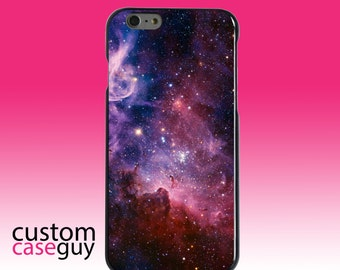 Hard Snap-On Case for Apple 5 5S SE 6 6S 7 Plus - CUSTOM Monogram - Any Colors - Purple Pink Carina Nebula