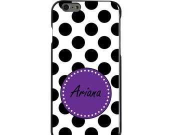 Hard Snap-On Case for Apple 5 5S SE 6 6S 7 Plus - CUSTOM Monogram - Any Colors - Black White Purple Polka Dots