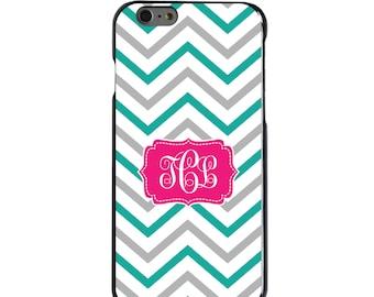 Hard Snap-On Case for Apple 5 5S SE 6 6S 7 Plus - CUSTOM Monogram - Any Colors - Teal Grey White Chevron Stripes