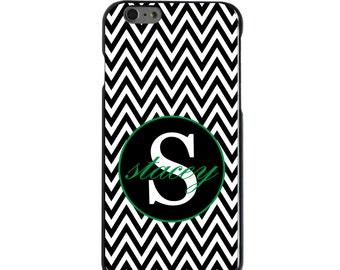 Hard Snap-On Case for Apple 5 5S SE 6 6S 7 Plus - CUSTOM Monogram - Any Colors - Black White Chevron Green