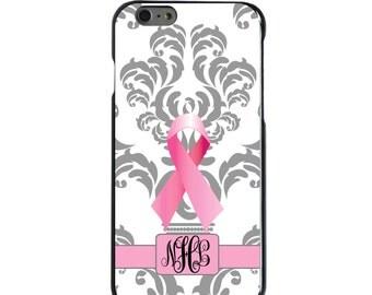 Hard Snap-On Case for Apple 5 5S SE 6 6S 7 Plus - CUSTOM Monogram - Any Colors - Grey White Damask Pink Cancer Ribbon