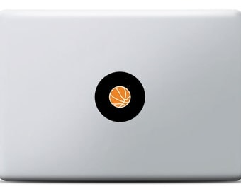 Basketball MacBook Sticker, Vinyl decal, MacBook Pro, MacBook Air, for sport fans and basketball player, NFL, Orange and black design