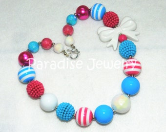 Chunky Necklace, Bubblegum Beads, Kids Size, Just For Fun, Baby, Toddler Necklace, Hot Pink Blue White Chunky Bead
