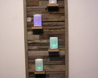 Barn Wood Wall Art Reclaimed Wood w/Four Shelves from nearly 100 year old Indiana Barn