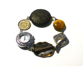 Womens' Watch, Postage Stamp & Gemstone Bracelet Eco-design Stainless Steel Jewelry