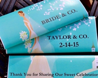 12 Bride & Co Hershey's Chocolate Candy Bars With Blue Wedding Wrappers Bridesmaid Gift Personalized Candy Bar Wrapper Wedding Favors Beach