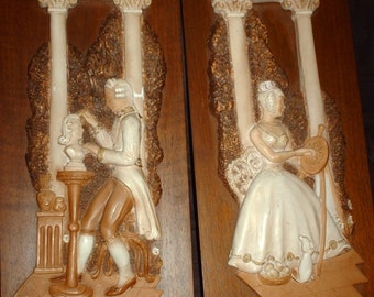 1965 Girotti Sculptured Art Wall Plaques Made In Canada(Set of 2)