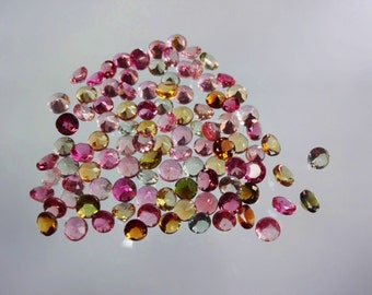 100-pc lot Natural AAAA quality Multi Tourmaline cut stone round shape app pieces eye clean size 3mm GW946