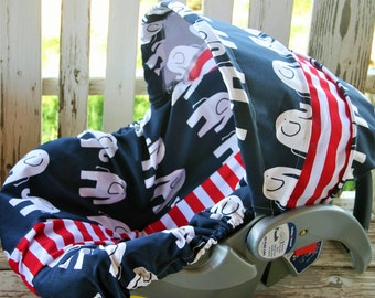 navy blue and white elephants w/ red and white stripe infant car seat cover and hood cover