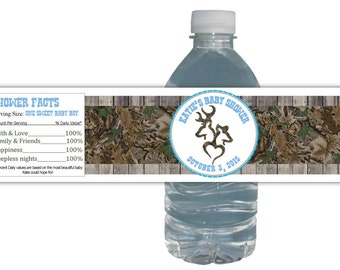 Deer Hunting Real Tree Baby Shower Party Water proof Water Bottle Labels Birthday Party
